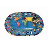 Joy Carpets Hands Around the World Kids Area Rug Size - 5 ft. 4 in. x 7 ft. 8 in. Oval