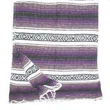 Roger Enterprises Large Purple/White/Black Mexican Falsa Blanket Yoga Mat Made in Mexico