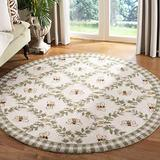 """Safavieh Chelsea Collection HK55A Hand-Hooked French Country Wool Area Rug, 5'6"""" x 5'6"""" Round, Ivory / Green"""