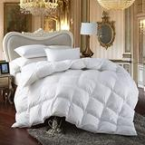 Premium All-Season King Size Luxury Siberian Goose Down Comforter Duvet Insert 1200 Thread Count 100% Egyptian Cotton Down Feather Comforter (King, White Solid)