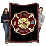 Fire Department Firefighter Shield - Cotton Woven Blanket Throw - Made in The USA (72x54)