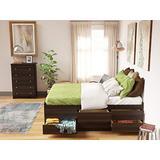 Prepac Captain's Platform Storage Bed with 12 Drawers, Queen, Espresso