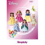 Simplicity 1581 Disney Princess Dress 18'' Doll Costume Sewing Patterns