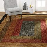 "Home Dynamix Vega Modern Area Rug, Geometric Black/Brown/Red 3'7"" x 5'2"""