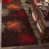 "Safavieh Soho Collection SOH712B Handmade Starburst Premium Wool & Viscose Runner, 2'6"" x 8' , Brown / Multi"