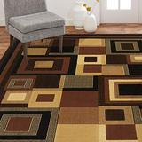 "Home Dynamix Catalina Virginia Abstract Runner Rug, Geometric Black/Brown 7'10""x10'2"""