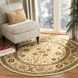 """Safavieh Lyndhurst Collection LNH212L Traditional Oriental Non-Shedding Stain Resistant Living Room Bedroom Area Rug, 5'3"""" x 5'3"""" Round, Ivory / Ivory"""