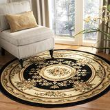 Safavieh Lyndhurst Collection LNH218A Traditional European Medallion Non-Shedding Stain Resistant Living Room Bedroom Area Rug, 8' x 8' Round, Black / Ivory