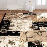 "Home Dynamix Optimum Byron Area Rug 3'7"" x5'2 Geometric Grid Floral, Black/Beige"