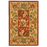 """Safavieh Chelsea Collection HK140C Hand-Hooked French Country Wool Accent Rug, 1'8"""" x 2'6"""", Red / Ivory"""