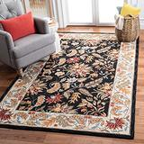 """Safavieh Chelsea Collection HK141B Hand-Hooked French Country Wool Area Rug, 5'3"""" x 8'3"""", Black"""