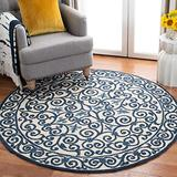 """Safavieh Chelsea Collection HK11I Hand-Hooked French Country Wool Area Rug, 5'6"""" x 5'6"""" Round, Ivory / Dark Blue"""