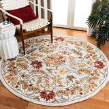 Safavieh Chelsea Collection HK141D Hand-Hooked French Country Wool Area Rug, 3' x 3' Round, Light Blue