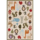 Momeni Rugs Lil' Mo Whimsy Collection, Kids Themed Hand Carved & Tufted Area Rug, 3' x 5', Multicolor Animals on Ivory