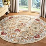 """Safavieh Chelsea Collection HK141A Hand-Hooked French Country Wool Area Rug, 5'6"""" x 5'6"""" Round, Ivory"""