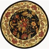 Safavieh Chelsea Collection HK141B Hand-Hooked French Country Wool Area Rug, 4' x 4' Round, Black