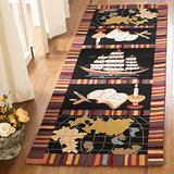 """Safavieh Chelsea Collection HK207A Hand-Hooked French Country Wool Runner, 2'6"""" x 8' , Black"""
