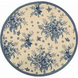 Safavieh Chelsea Collection HK250A Hand-Hooked French Country Wool Area Rug, 4' x 4' Round, Ivory / Blue