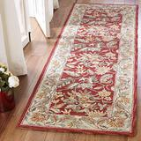 """Safavieh Chelsea Collection HK141C Hand-Hooked French Country Wool Runner, 2'6"""" x 8' , Red"""