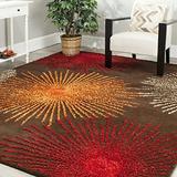 "Safavieh Soho Collection SOH712B Handmade Starburst Premium Wool & Viscose Area Rug, 3'6"" x 5'6"", Brown / Multi"