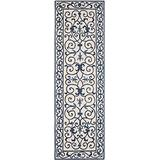 """Safavieh Chelsea Collection HK11I Hand-Hooked French Country Wool Runner, 2'6"""" x 10' , Ivory / Dark Blue"""