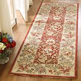 """Safavieh Chelsea Collection HK140C Hand-Hooked French Country Wool Runner, 2'6"""" x 12' , Red / Ivory"""