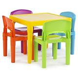 Humble Crew Kids Plastic 4 Set, Yellow Table/Vibrant Chairs