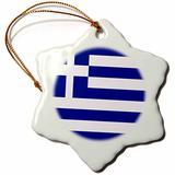 3dRose Greek Flag Snowflake Porcelain Ornament, 3-Inch
