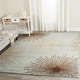 "Safavieh Soho Collection SOH712C Handmade Starburst Premium Wool & Viscose Area Rug, 7'6"" x 9'6"", Light Blue / Multi"