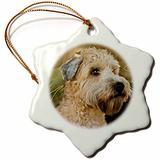 3dRose Soft Coated Wheaten Terrier Portrait Snowflake Porcelain Ornament, 3-Inch