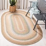 Safavieh Braided Collection BRD314A Handmade Country Cottage Reversible Area Rug, 3' x 5' Oval, Tan / Multi