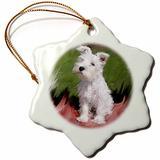 3dRose ORN_4826_1 White Schnauzer Snowflake Porcelain Ornament, 3-Inch