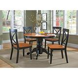 """Cottage Black/Oak 5 Piece 42"""" Round Dining Set with 4 Chairs by Home Styles"""