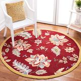 Safavieh Chelsea Collection HK306C Hand-Hooked French Country Wool Area Rug, 4' x 4' Round, Red