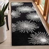 Safavieh Soho Collection SOH712D Handmade Starburst Premium Wool & Viscose Accent Rug, 2' x 3', Black / White