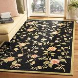 """Safavieh Chelsea Collection HK263B Hand-Hooked French Country Wool Area Rug, 3'9"""" x 5'9"""", Black"""