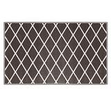 House, Home and More Skid-Resistant Carpet Indoor Area Rug Floor Mat – Diamond Trellis Lattice – Misty Gray & Linen White – 3 Feet X 5 Feet