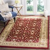 Safavieh Lyndhurst Collection LNH312A Traditional Oriental Non-Shedding Stain Resistant Living Room Bedroom Area Rug, 6' x 6' Square, Red / Ivory