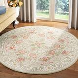 """Safavieh Chelsea Collection HK330A Hand-Hooked French Country Wool Area Rug, 5'6"""" x 5'6"""" Round, Beige / Green"""