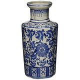 """Oriental Furniture 12"""" Floral Blue & White Porcelain Vase"""