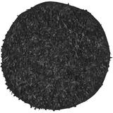 Safavieh Leather Shag Collection LSG511A Hand-Knotted Modern Leather Area Rug, 4' x 4' Round, Black