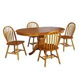 TMS 5 Piece Farmhouse Dining Set, Oak
