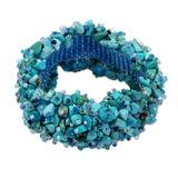 Beaded stretch bracelet, 'Beauty in Blue' - Turquoise Stretch Bracelet