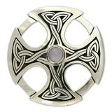 'Celtic Cross' - Handcrafted Moonstone and Silver Cross Brooch P