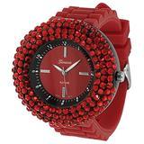 GENEVA PLATINUM 2105 Women's Rhinestone Silicone Watch-RED