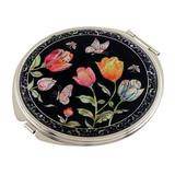 Mother of Pearl Yellow Pink Red Tulip Flower Design Double Compact Magnifying Cosmetic Makeup Handbag Pocket Purse Mirror