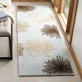 "Safavieh Soho Collection SOH712C Handmade Starburst Premium Wool & Viscose Runner, 2'6"" x 12' , Light Blue / Multi"