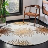 Safavieh Soho Collection SOH712C Handmade Starburst Premium Wool & Viscose Area Rug, 8' x 8' Round, Light Blue / Multi