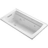 """Kohler K-1122 Archer Collection 60"""" Drop In Jetted Whirlpool Bath Tub with Reversible Drain White"""