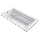 """Kohler K-1124-H Archer Collection 72"""" Drop In Jetted Whirlpool Bath Tub with Reversible Drain White"""